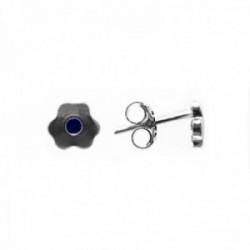 Pendientes plata Ley 925m flor circonita azul 5x7mm. cierre presión