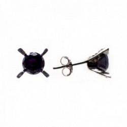 Pendientes plata Ley 925m circonita negra garras 6mm. mujer cierre presión