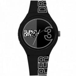 Reloj Superdry SYG239BW Urban XL Fusion negro silicona detalles blancos
