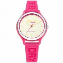 Reloj Superdry SYL151P Sapporo rosa fluorescente silicona bisel detalle plateado
