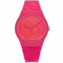 Reloj Superdry SYL169P Urban Style rosa fluorescente silicona letras logo esfera fondo relieve