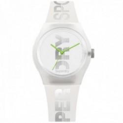 Reloj Superdry SYL189WE Urban Style Sport blanco translúcido silicona letras grises