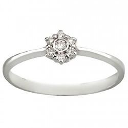 Sortija diamante brillante 0,1ct oro blanco 18k 6 más 1 [5917]