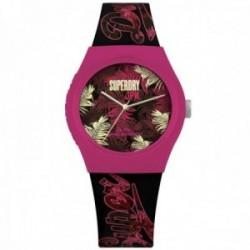 Reloj Superdry SYL247BP Urban Tropicana silicona negro detalle hojas rosa