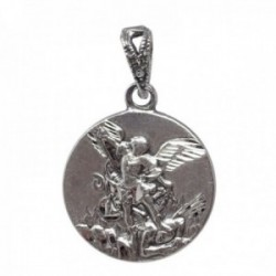 Medalla colgante plata Ley 925m San Miguel 18mm. redonda detalles tallados trasera lisa