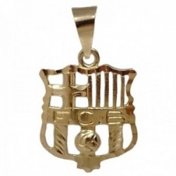 Colgante oro 18k escudo 23mm. Fútbol Club Barcelona calado detalles tallados