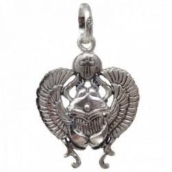 Colgante plata Ley 925m escarabajo egipcio 28mm. cruz de la vida detalles tallados