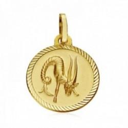 Medalla oro 18k horóscopo Capricornio 20mm. signo zodiaco cerco tallado