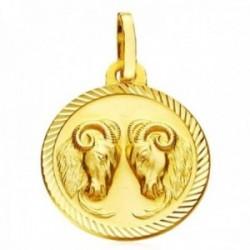 Medalla oro 18k horóscopo Aries 20mm. signo zodiaco cerco tallado