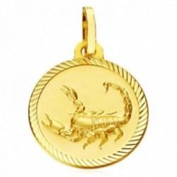 Medalla oro 18k horóscopo Escorpio  20mm. signo zodiaco cerco tallado
