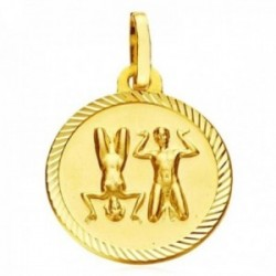 Medalla oro 18k horóscopo Geminis 20mm. signo zodiaco cerco tallado