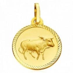 Medalla oro 18k horóscopo Tauro 20mm. signo zodiaco cerco tallado
