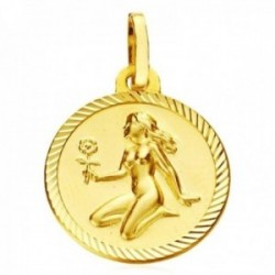 Medalla oro 18k horóscopo Virgo 20mm. signo zodiaco cerco tallado