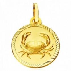 Medalla oro 18k horóscopo Cáncer 20mm. signo zodiaco cerco tallado