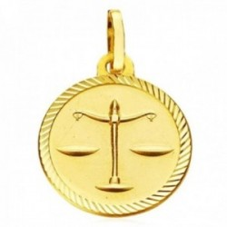 Medalla oro 18k horóscopo Libra 20mm. signo zodiaco cerco tallado