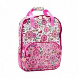 Mochila poliéster 39cm. rosa estampado floral mandalas colores cierre cremallera