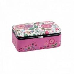 Joyero baúl 12cm. polipiel rosa estampado floral interior diferentes compartimentos cierre metálico
