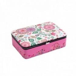 Joyero baúl 15cm. polipiel rosa estampado floral interior diferentes compartimentos cierre metálico