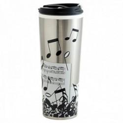 Taza vaso térmico 450ml. acero inoxidable mug viaje partitura clave sol notas musicales blanco negro