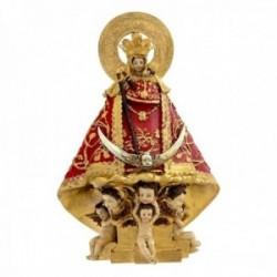 Figura Virgen de la Montaña imagen 17cm. manto rojo dorado ángeles adorno resina peana decoración