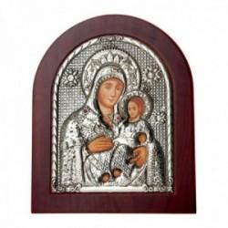 Imagen icono 19cm. Virgen María Niño Jesús madera metal plateado piedras rojas