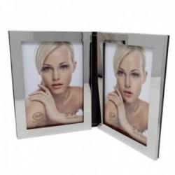Marco portafotos doble 13x18cm. borde plateado efecto espejo trasera imitación cuero forma libro