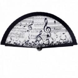 Abanico estilo madera blanco negro música 23cm. partitura notas musicales clave de sol