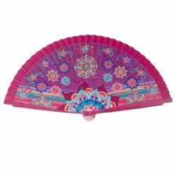 Abanico estilo madera 23cm. rosa fucsia fondo morado mandalas flores multicolor
