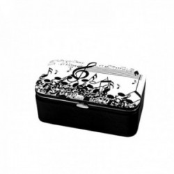 Joyero baúl 12cm. polipiel estampado musical cierre metálico partitura clave de sol notas pentagrama