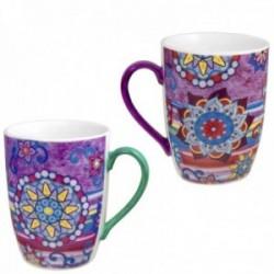 Juego 2 tazas cerámica moradas estampado floral mandalas multicolor