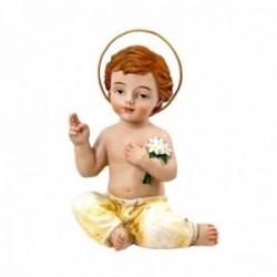 Figura Niño Jesús imagen 11cm. flores corona adorno resina peana decoración