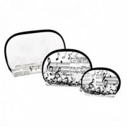 Juego neceser 3 tamaños estampado musical combinado plástico transparente cierre cremallera