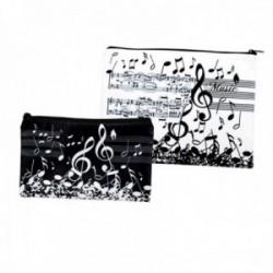 Juego 2 estuches poliéster estampado musical cierre cremallera partitura clave de sol notas