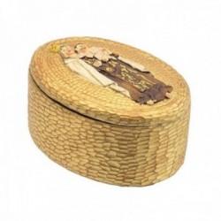 Caja joyero Virgen del Carmen 10cm. oval cerámica dorada