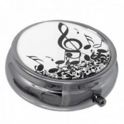 Pastillero metálico redondo 5cm. blanco notas musicales clave de sol 3 compartimentos espejo