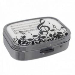 Pastillero metálico 5.5cm. blanco notas musicales clave de sol partitura 2 compartimentos espejo