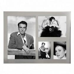 Marco portafotos múltiple foto grande 13x18cm. mediana 13x9cm. pequeñas 5x8cm. borde metálico espejo