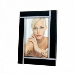 Marco portafotos 10x15cm. negro borde metálico filos plateados