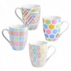 Juego 4 tazas cerámica motivo formas abstractas colores pasteles