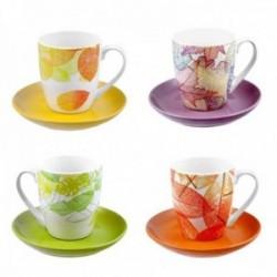 Juego 4 tazas platos cerámica motivo otoñal hojas