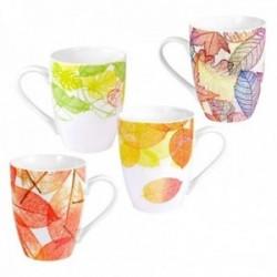 Juego 4 tazas cerámica motivo hojas otoñales