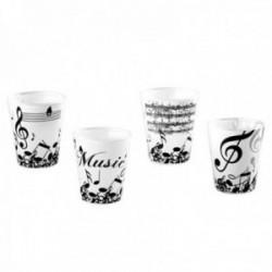 Juego 4 vasos chupito blancos cristal detalles negros musicales partitura clave de sol notas