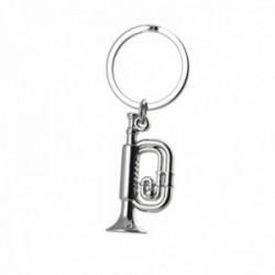 Llavero metálico 8cm. motivo trompeta plateada brillo lisa