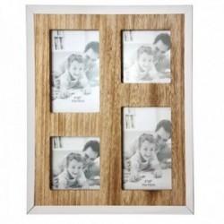 Marco portafotos múltiple fotos grandes 10x15cm. fotos pequeñas 9x9cm. borde madera filo metálico