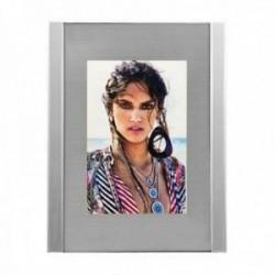 Marco portafotos 10x15cm. metálico cristal fondo plateado mate líneas laterales efecto espejo