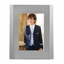 Marco portafotos 15x20cm. metálico cristal fondo plateado mate líneas laterales efecto espejo