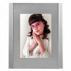 Marco portafotos 20x25cm. metálico cristal fondo plateado mate líneas laterales efecto espejo