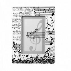 Marco portafotos 10x15cm. cerámica motivo musical clave de sol partitura notas blanco negro