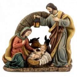 Misterio nacimiento 20cm. Sagrada Familia con arco de piedra imagen adorno resina decoración