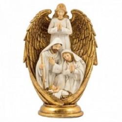 Misterio nacimiento 25cm. Sagrada Familia ángel con alas doradas imagen adorno resina peana decoración
